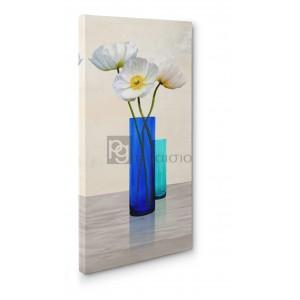Cynthia Ann - Poppies in crystal vases (Aqua II)