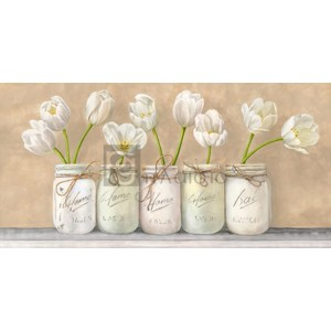 Jenny Thomlinson - White Tulips in Mason Jars