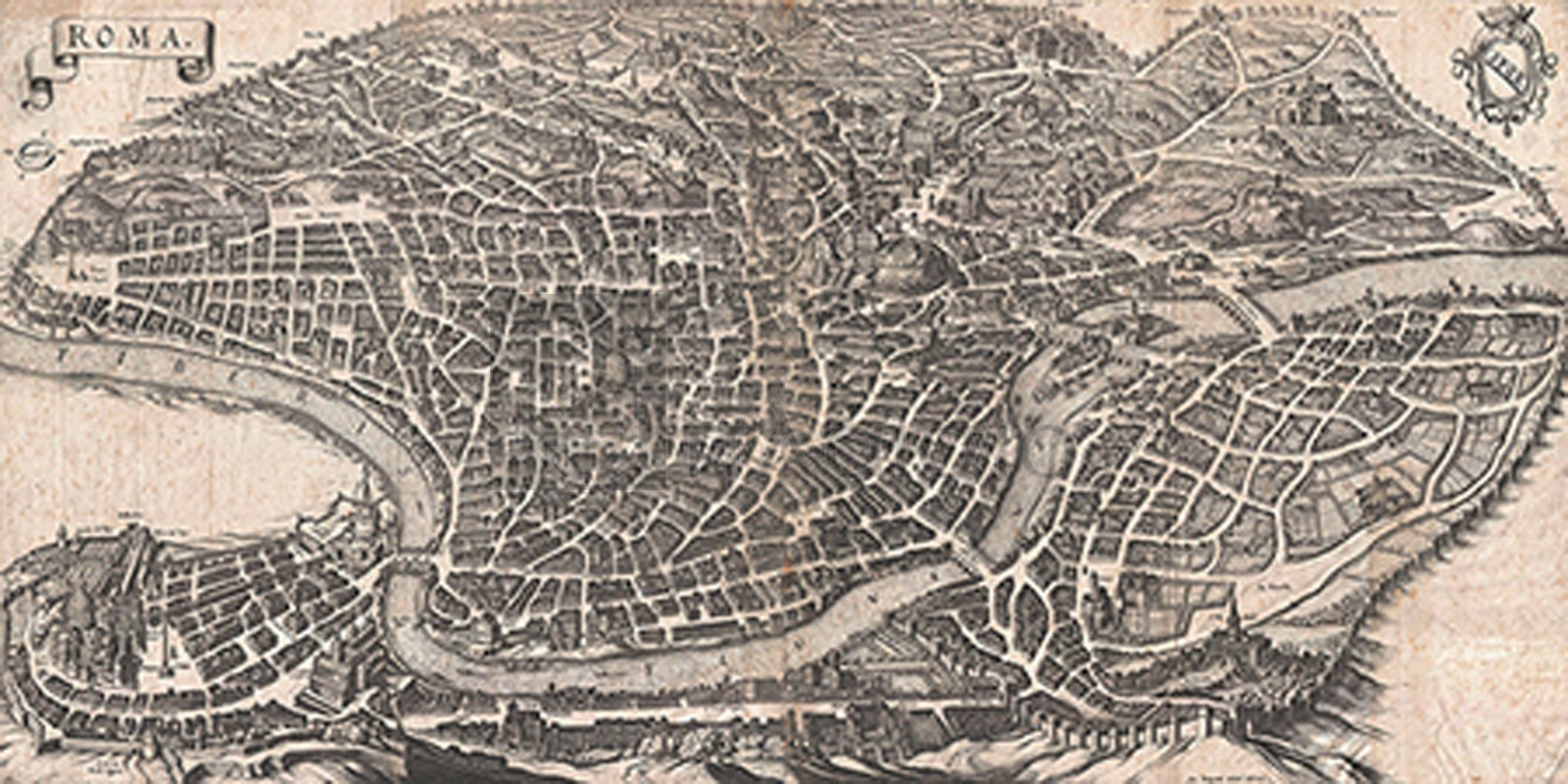 Matthaus Merian - Panoramic View of Rome, 1640