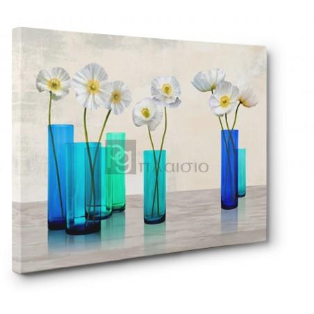 Cynthia Ann - Poppies in crystal vases (Aqua palette)