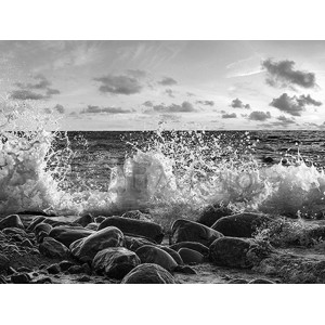 Pangea Images - Waves crashing, Point Reyes, California (BW)