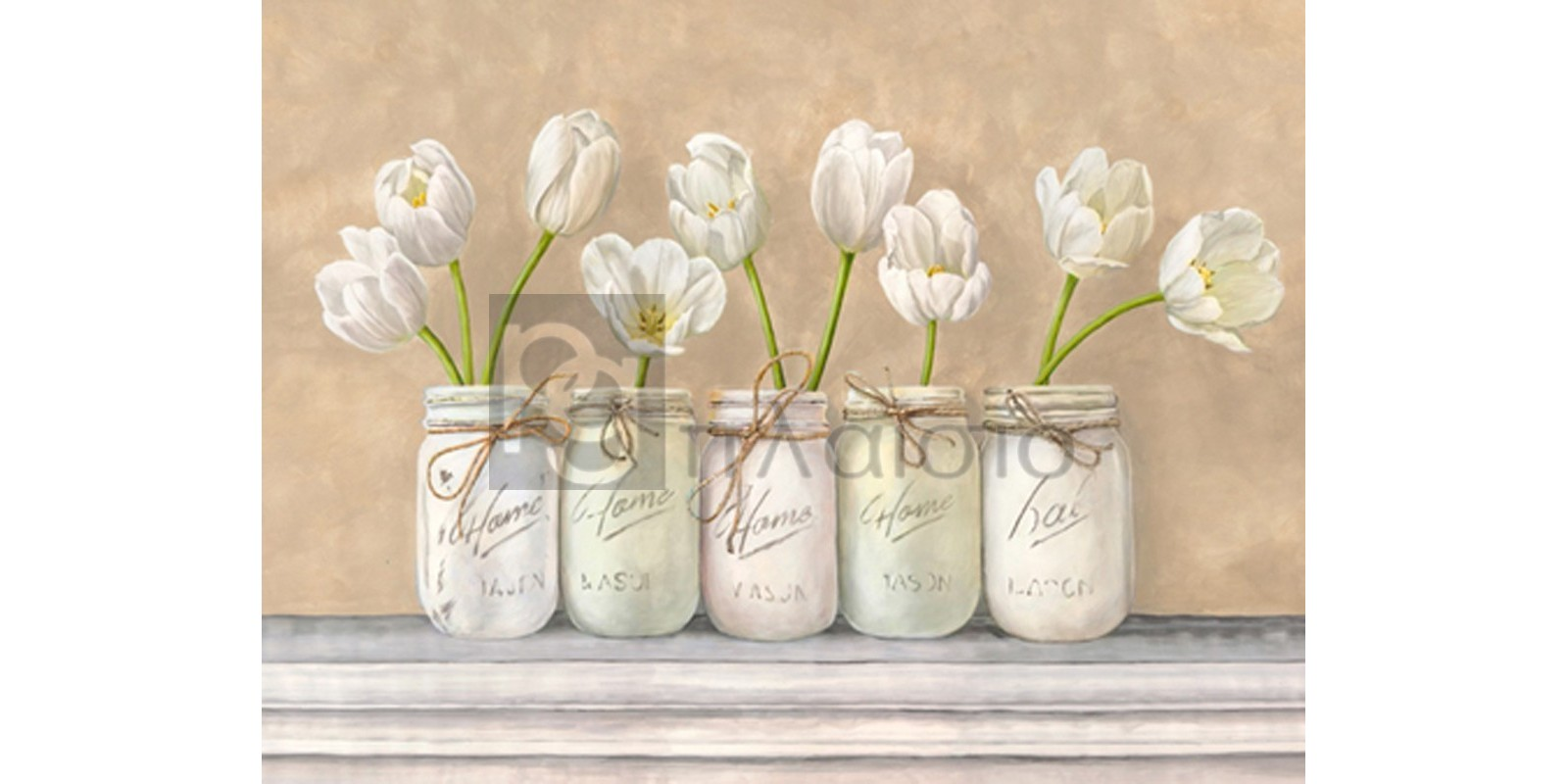 Jenny Thomlinson - White Tulips in Mason Jars