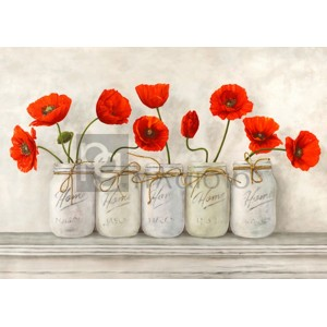 Jenny Thomlinson - Red Poppies in Mason Jars