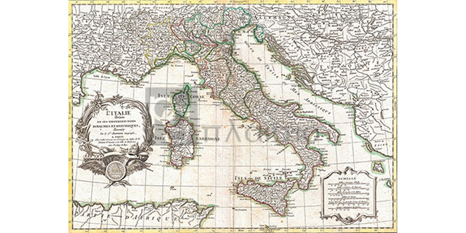 Robert Janvier - Map of Italy, 1770