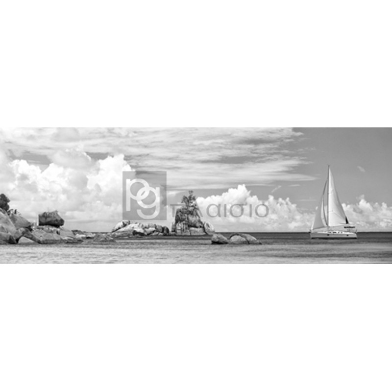 Pangea Images - Sailboat at La Digue, Seychelles (BW)