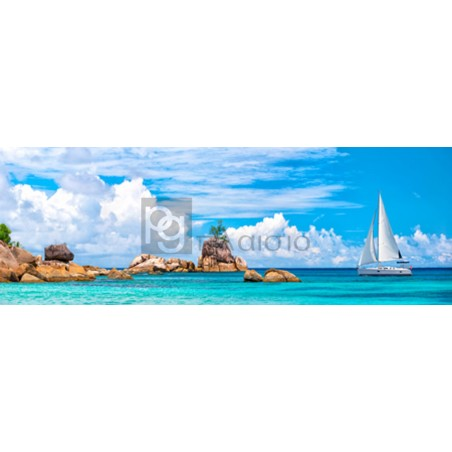Pangea Images - Sailboat at La Digue, Seychelles