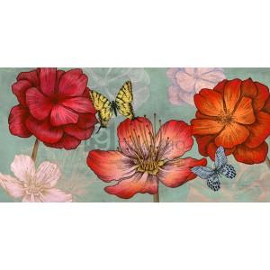 EVE C. GRANT - Flowers and Butterflies (Aqua)