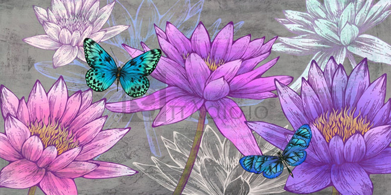 Eve C. Grant - Nympheas and Butterflies (Ash)