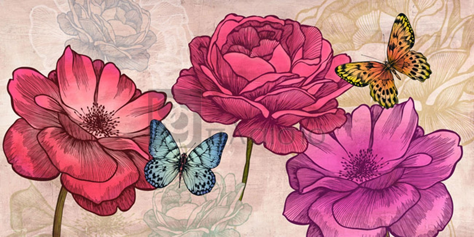 Eve C. Grant - Roses and Butterflies (Neutral)