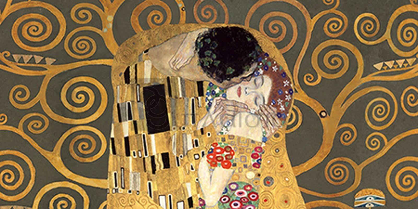 GUSTAV KLIMT - The Kiss, detail (Grey variation)