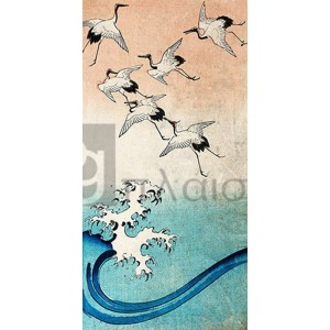 ANDO HIROSHIGE - Cranes Flying (detail)
