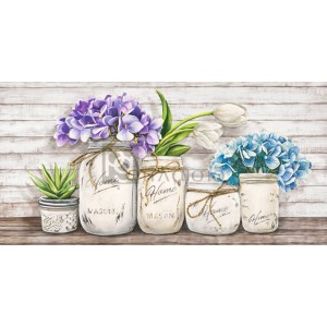 Hydrangeas in Mason Jars