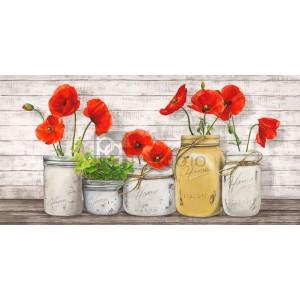 Poppies in Mason Jars