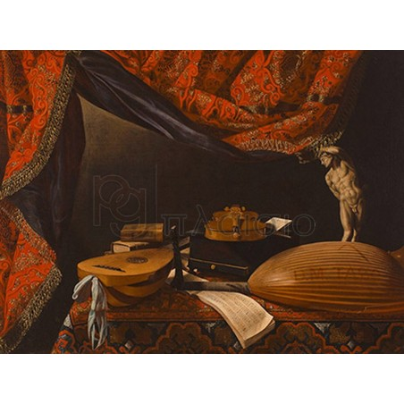 EVARISTO BASCHENIS - Still Life with Musical Instruments, Books and Sculpture