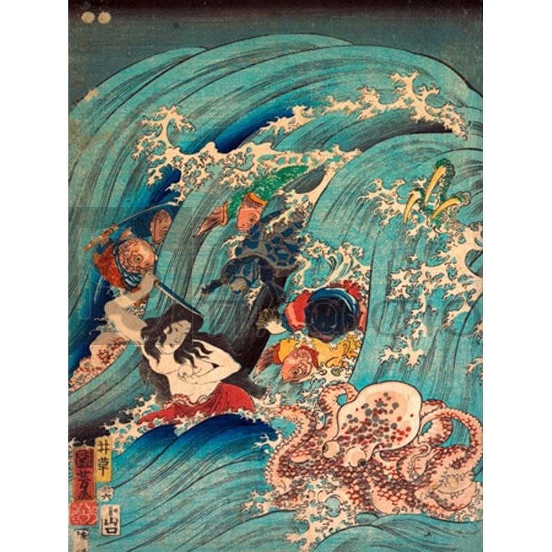 KUNIYOSHI UTAGAWA - Recovering a jewel from the palace of the dragon king I