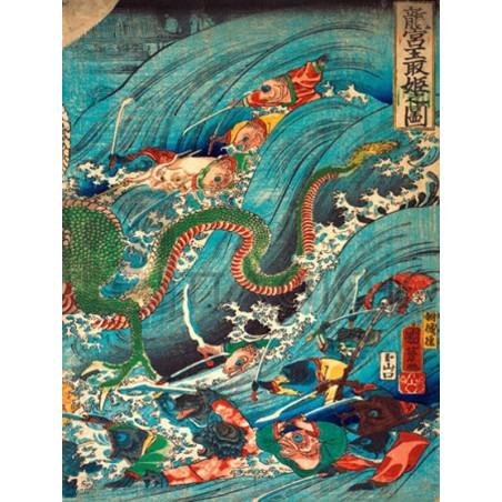 KUNIYOSHI UTAGAWA - Recovering a jewel from the palace of the dragon king III
