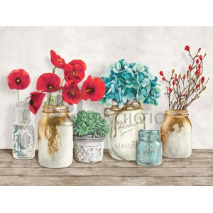 JENNY THOMLINSON - Floral composition with Mason Jars