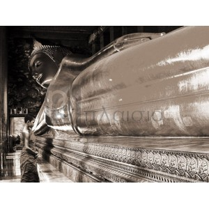 Pangea Images - Praying the reclined Buddha, Wat Pho, Bangkok, Thailand (sepia)