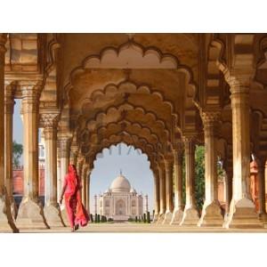 Gasoline Images - Woman in traditional Sari walking towards Taj Mahal