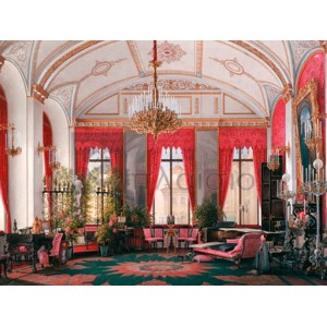 Edward Petrovich Hau - Interiors of the Winter Palace: the Raspberry Study