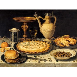 CLARA PEETERS - Still life with a tart, roast chicken, bread, rice and olives