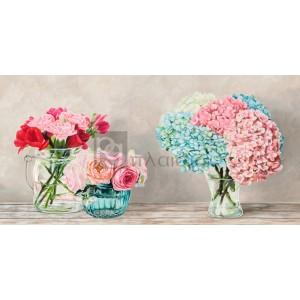 Remy Dellal - Fleurs et Vases Blanc