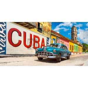 Pangea Images - Vintage car and mural, Cuba