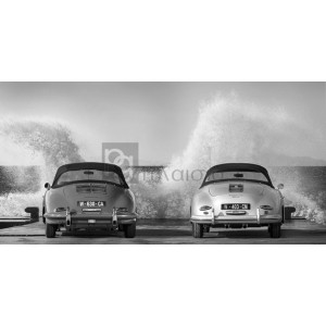 Gasoline Images - Ocean Waves Breaking on Vintage Beauties (BW)