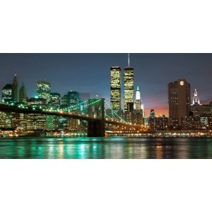Barry Mancini - The Brooklyn Bridge and Twin Towers at Night
